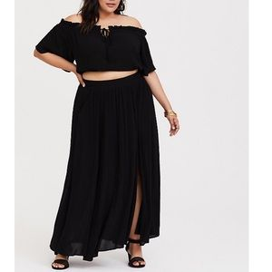 Two piece. Black skirt and crop. NWT. Torrid. 2